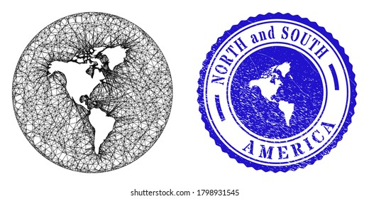 Mesh hole round South and North America map and grunge stamp. South and North America map is a hole in a circle stamp. Web net vector South and North America map in a circle.
