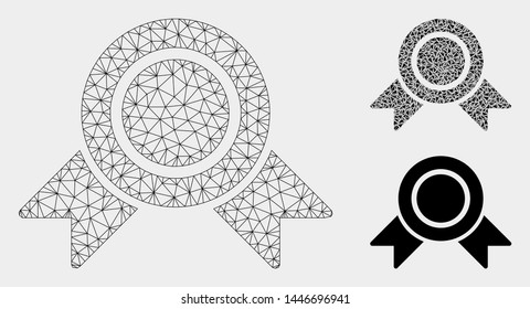 Mesh honour medal model with triangle mosaic icon. Wire carcass triangular mesh of honour medal. Vector collage of triangles in various sizes, and color tints. Abstract 2d mesh honour medal,