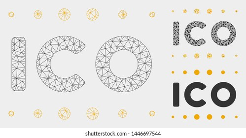 Mesh ICO caption model with triangle mosaic icon. Wire frame polygonal mesh of ICO caption. Vector collage of triangle elements in variable sizes, and color shades. Abstract 2d mesh ICO caption,