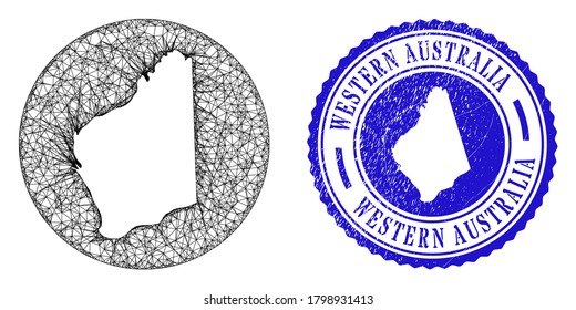 Mesh inverted round Western Australia map and grunge seal stamp. Western Australia map is a hole in a circle seal. Web net vector Western Australia map in a circle. Blue round grunge seal stamp.