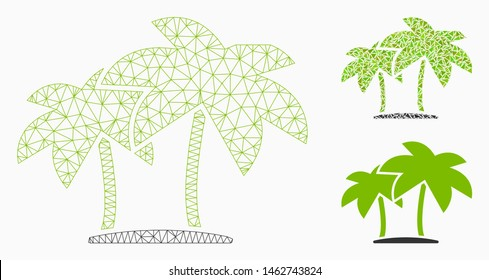 Mesh island palms model with triangle mosaic icon. Wire carcass triangular mesh of island palms. Vector mosaic of triangle elements in different sizes, and color hues. Abstract 2d mesh island palms,