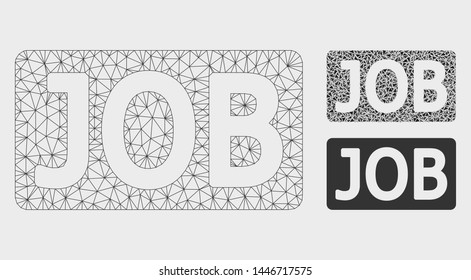 Mesh job caption model with triangle mosaic icon. Wire carcass polygonal mesh of job caption. Vector mosaic of triangles in various sizes, and color shades. Abstract flat mesh job caption,