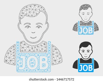 Mesh jobless model with triangle mosaic icon. Wire frame polygonal mesh of jobless. Vector composition of triangle elements in different sizes, and color hues. Abstract flat mesh jobless,