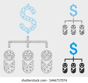 Mesh kid budget model with triangle mosaic icon. Wire frame polygonal mesh of kid budget. Vector mosaic of triangle elements in variable sizes, and color tinges. Abstract 2d mesh kid budget,