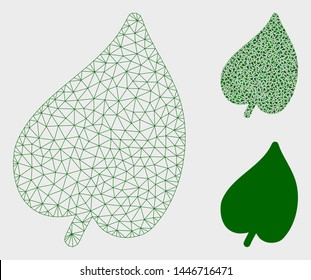 Mesh leaf model with triangle mosaic icon. Wire frame triangular mesh of leaf. Vector mosaic of triangle parts in variable sizes, and color tints. Abstract 2d mesh leaf, designed with triangular grid.