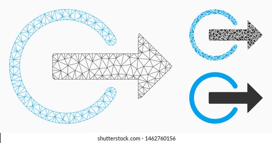 Mesh logout model with triangle mosaic icon. Wire carcass triangular mesh of logout. Vector mosaic of triangle elements in variable sizes, and color hues. Abstract flat mesh logout,