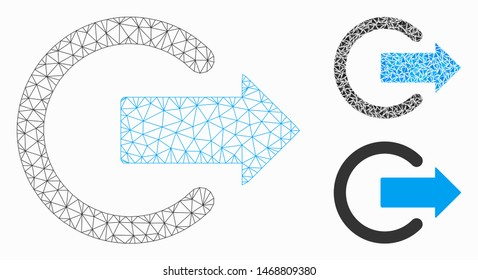 Mesh logout model with triangle mosaic icon. Wire carcass triangular mesh of logout. Vector mosaic of triangle parts in various sizes, and color tints. Abstract 2d mesh logout,