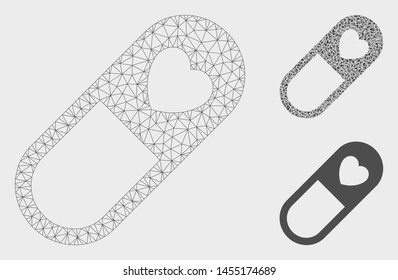 Mesh love granule model with triangle mosaic icon. Wire frame polygonal mesh of love granule. Vector mosaic of triangles in variable sizes, and color hues. Abstract flat mesh love granule,