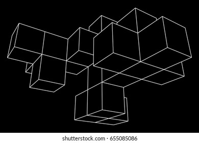 Mesh low poly wireframe cubes element. Connected lines. Connection Box Structure. Digital Data Visualization Concept. Vector Illustration.