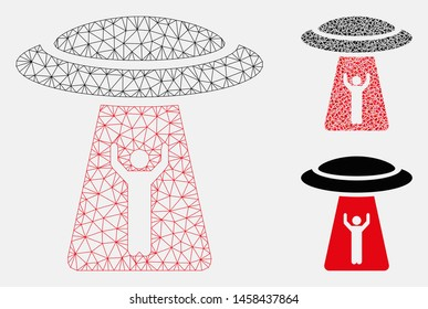 Mesh man abduction UFO model with triangle mosaic icon. Wire carcass triangular mesh of man abduction UFO. Vector mosaic of triangle elements in variable sizes, and color tints.