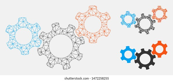 Mesh mechanics model with triangle mosaic icon. Wire carcass polygonal mesh of mechanics. Vector mosaic of triangle elements in different sizes, and color hues. Abstract 2d mesh mechanics,