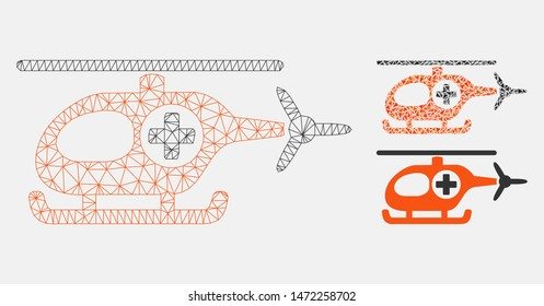 Mesh medical helicopter model with triangle mosaic icon. Wire carcass polygonal mesh of medical helicopter. Vector mosaic of triangle parts in different sizes, and color tones.