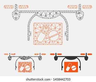 Mesh medical quadcopter model with triangle mosaic icon. Wire carcass triangular mesh of medical quadcopter. Vector mosaic of triangle parts in variable sizes, and color tinges.