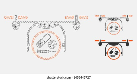 Mesh medication quadcopter model with triangle mosaic icon. Wire frame triangular mesh of medication quadcopter. Vector composition of triangle elements in variable sizes, and color hues.
