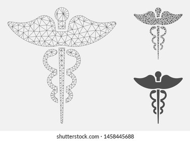 Mesh medicine caduceus symbol model with triangle mosaic icon. Wire carcass triangular mesh of medicine caduceus symbol. Vector mosaic of triangle elements in different sizes, and color tinges.