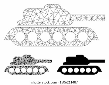 Mesh military tank model with triangle mosaic icon. Wire carcass triangular mesh of military tank. Vector mosaic of triangle parts in variable sizes, and color tinges.