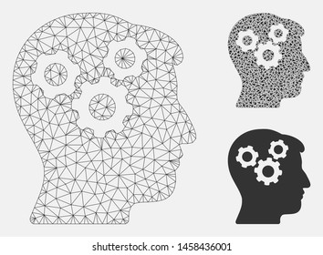 Mesh mind gears model with triangle mosaic icon. Wire frame polygonal mesh of mind gears. Vector composition of triangle elements in different sizes, and color hues. Abstract 2d mesh mind gears,