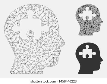 Mesh mind model with triangle mosaic icon. Wire frame triangular network of mind. Vector mosaic of triangle parts in variable sizes, and color tints. Abstract 2d mesh mind, designed with triangles.