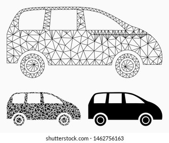 Mesh minivan model with triangle mosaic icon. Wire frame polygonal mesh of minivan. Vector collage of triangle elements in variable sizes, and color tinges. Abstract 2d mesh minivan,