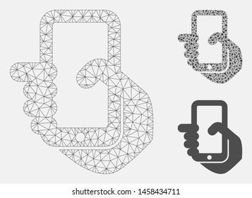 Mesh mobile phone model with triangle mosaic icon. Wire frame triangular mesh of mobile phone. Vector composition of triangle elements in various sizes, and color hues. Abstract 2d mesh mobile phone,