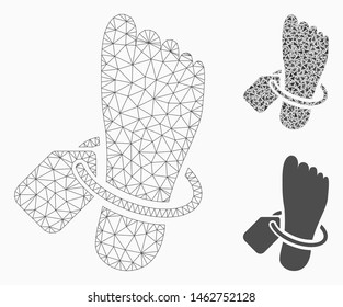 Mesh morgue tagged foot model with triangle mosaic icon. Wire carcass polygonal mesh of morgue tagged foot. Vector mosaic of triangle elements in various sizes, and color tinges.