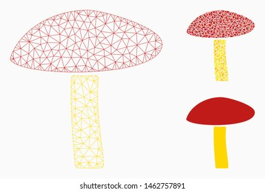 Mesh natural mushroom model with triangle mosaic icon. Wire frame polygonal mesh of natural mushroom. Vector mosaic of triangle parts in various sizes, and color hues.