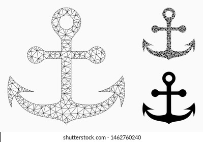 Mesh navy anchor model with triangle mosaic icon. Wire frame polygonal mesh of navy anchor. Vector collage of triangle elements in different sizes, and color tinges. Abstract flat mesh navy anchor,