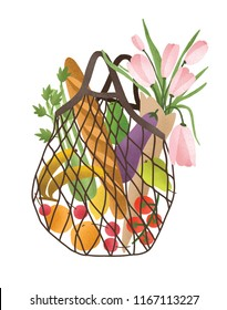Mesh or net bag full of healthy food products isolated on white background. Trendy shopper with fresh vegetables, fruits and flowers from local market. Vector illustration in flat cartoon style.