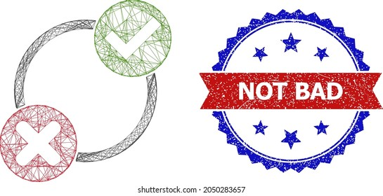 Mesh net yes no variants carcass icon, and bicolor scratched Not Bad watermark. Flat carcass created from yes no variants symbol and crossing lines. Vector watermark with grunge bicolored style,
