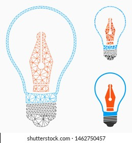 Mesh news maker bulb model with triangle mosaic icon. Wire frame triangular mesh of news maker bulb. Vector collage of triangles in different sizes, and color shades. Abstract 2d mesh news maker bulb,