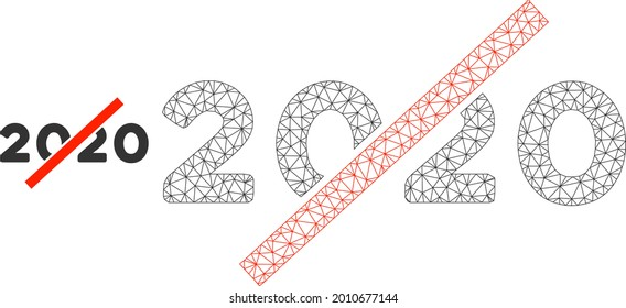 Mesh no 2020 year model icon. Wire carcass polygonal mesh of vector no 2020 year isolated on a white background. Abstract 2d mesh built from polygonal grid and small circle.