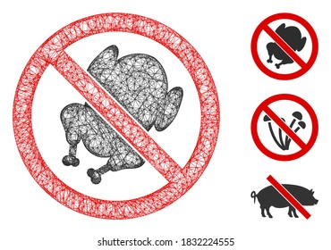 Mesh no chicken polygonal web 2d vector illustration. Carcass model is based on no chicken flat icon. Triangular network forms abstract no chicken flat model.