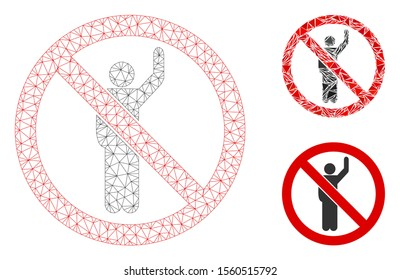 Mesh no hitchhike model with triangle mosaic icon. Wire frame triangular mesh of no hitchhike. Vector mosaic of triangle parts in variable sizes, and color tones. Abstract 2d mesh no hitchhike,