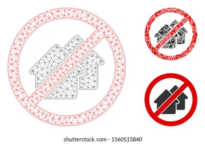 Mesh no houses model with triangle mosaic icon. Wire carcass triangular mesh of no houses. Vector mosaic of triangle elements in different sizes, and color tints. Abstract 2d mesh no houses,