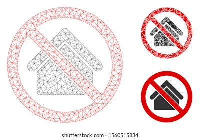 Mesh no housing model with triangle mosaic icon. Wire carcass polygonal mesh of no housing. Vector collage of triangle parts in variable sizes, and color tinges. Abstract 2d mesh no housing,