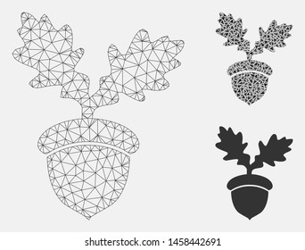 Mesh oak acorn model with triangle mosaic icon. Wire carcass polygonal mesh of oak acorn. Vector mosaic of triangle parts in various sizes, and color tinges. Abstract 2d mesh oak acorn,