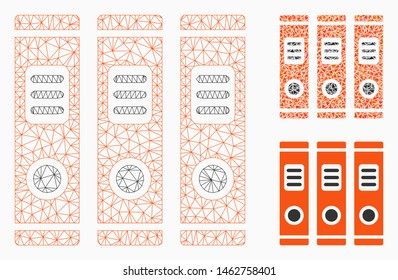 Mesh office books model with triangle mosaic icon. Wire carcass triangular mesh of office books. Vector mosaic of triangle elements in various sizes, and color tints. Abstract 2d mesh office books,