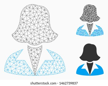 Mesh office lady model with triangle mosaic icon. Wire carcass triangular mesh of office lady. Vector collage of triangle elements in variable sizes, and color tones. Abstract flat mesh office lady,