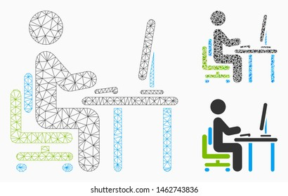 Mesh office work model with triangle mosaic icon. Wire frame polygonal network of office work. Vector mosaic of triangles in variable sizes, and color tints. Abstract 2d mesh office work,