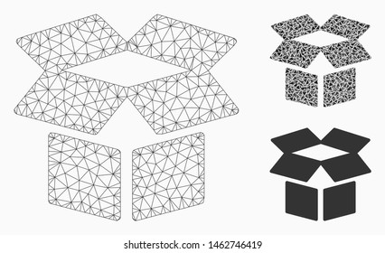 Mesh open box model with triangle mosaic icon. Wire frame triangular mesh of open box. Vector composition of triangle elements in various sizes, and color hues. Abstract flat mesh open box,