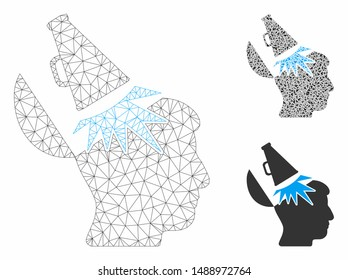 Mesh open mind megaphone model with triangle mosaic icon. Wire frame triangular mesh of open mind megaphone. Vector composition of triangle parts in different sizes, and color tints.