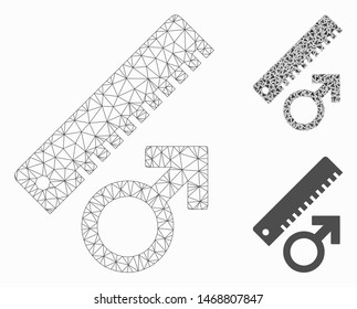 Mesh penis measure model with triangle mosaic icon. Wire carcass polygonal mesh of penis measure. Vector mosaic of triangle elements in variable sizes, and color tones. Abstract 2d mesh penis measure,