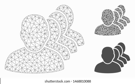 Mesh people squad model with triangle mosaic icon. Wire frame polygonal mesh of people squad. Vector mosaic of triangle elements in different sizes, and color tones. Abstract 2d mesh people squad,