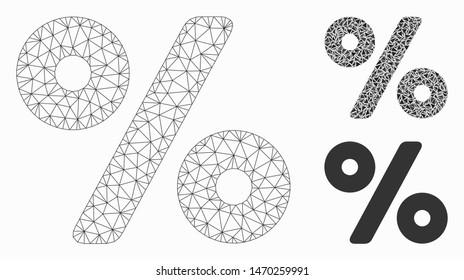 Mesh percent model with triangle mosaic icon. Wire carcass triangular mesh of percent. Vector mosaic of triangle elements in different sizes, and color tinges. Abstract 2d mesh percent,