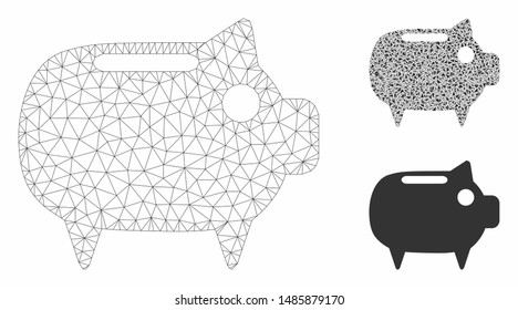 Mesh piggy bank model with triangle mosaic icon. Wire frame triangular mesh of piggy bank. Vector collage of triangles in different sizes, and color tones. Abstract 2d mesh piggy bank,