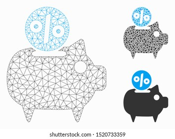 Mesh piggy bank model with triangle mosaic icon. Wire carcass polygonal mesh of piggy bank. Vector collage of triangle elements in different sizes, and color tones. Abstract flat mesh piggy bank,