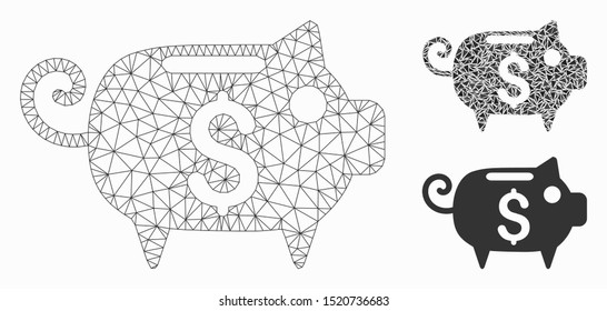 Mesh piggy bank model with triangle mosaic icon. Wire frame triangular mesh of piggy bank. Vector composition of triangle parts in different sizes, and color hues. Abstract flat mesh piggy bank,