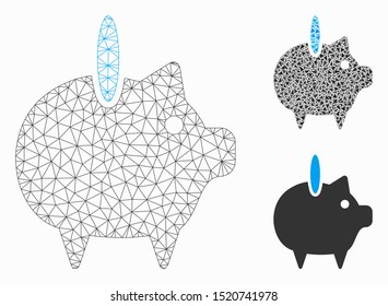 Mesh piggy bank model with triangle mosaic icon. Wire frame polygonal network of piggy bank. Vector mosaic of triangle elements in different sizes, and color tints. Abstract 2d mesh piggy bank,