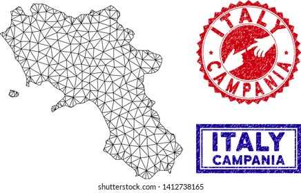 Mesh polygonal Campania region map and grunge seal stamps. Abstract lines and points form Campania region map vector model. Round red stamp with connecting hands.