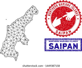 Mesh polygonal Saipan Island map and grunge seal stamps. Abstract lines and circle dots form Saipan Island map vector model. Round red stamp with connecting hands.